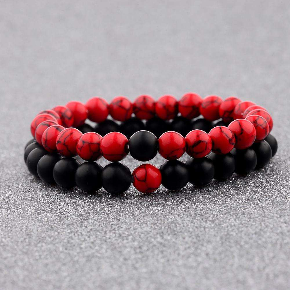 Valentine's Day Gift Elastic 8mm Black Red Color Natural Stone Strand Couple Bracelet