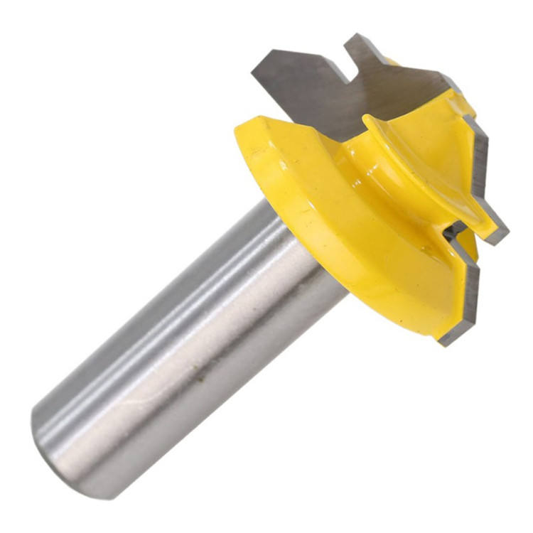 For Wood Carbide Alloy 45 Degree Shank Wood Milling Cutter Lock Miter Router Bit Drilling Milling
