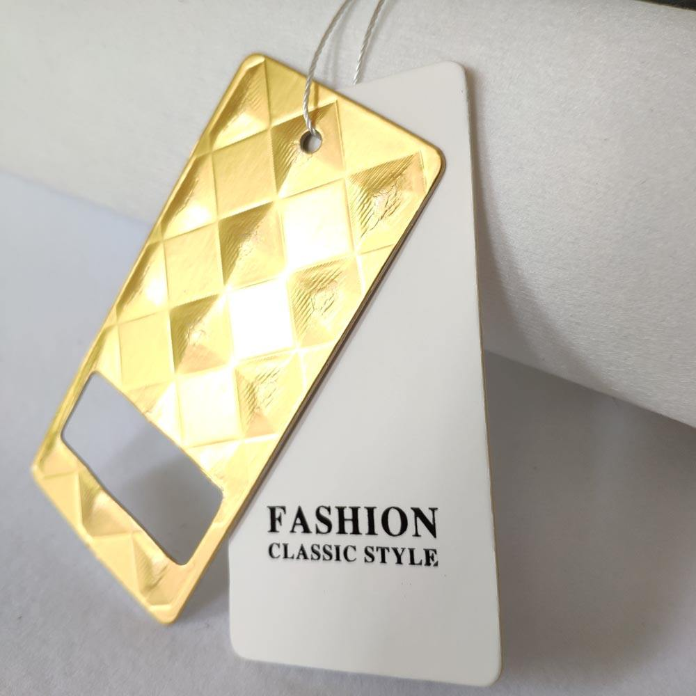 Luxury clothing shoes retail hand embossed paper hang tag, Jeans Garment Gold Foil hang tag