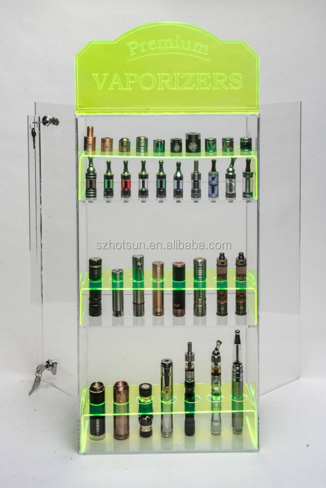 fluorescent green color Acrylic E liquid E juice Display with Door and Lock at the back