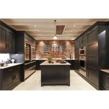 2020 Hangzhou Vermont U Sharped Shaker Black Color with Golden Handle Modern Kitchen Cabinets