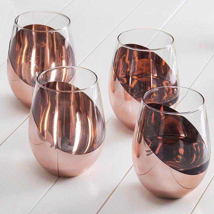 Modern Electroplated Copper Stemless Wine Glasses