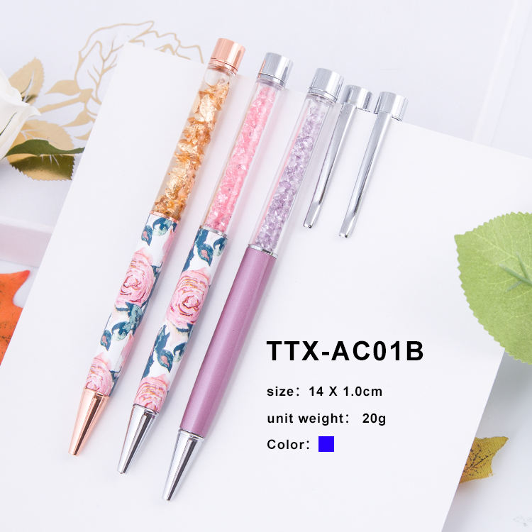 Customized logo printed cute pen pink crystal promotional pen