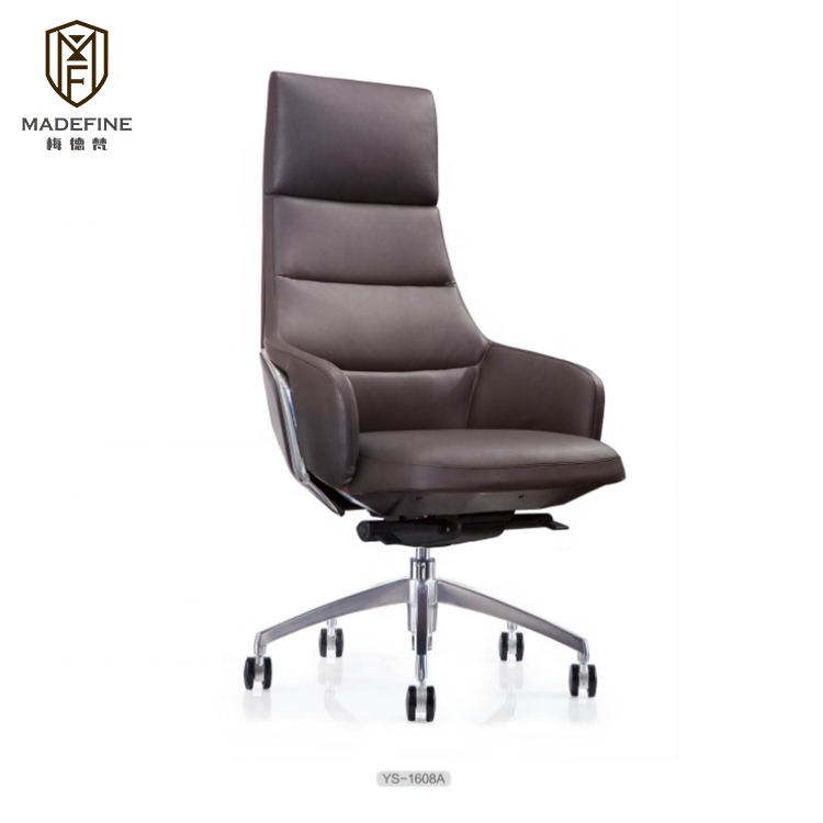Foshan furniture executive office chair in modern design genuine leather metal frame swivel boss chair office used