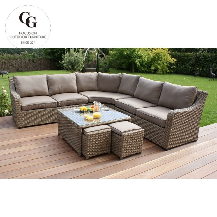 Taman Modern Set Furniture Outdoor Garden Resin Anyaman Gulungan Anyaman Bahan Rotan Garden Set