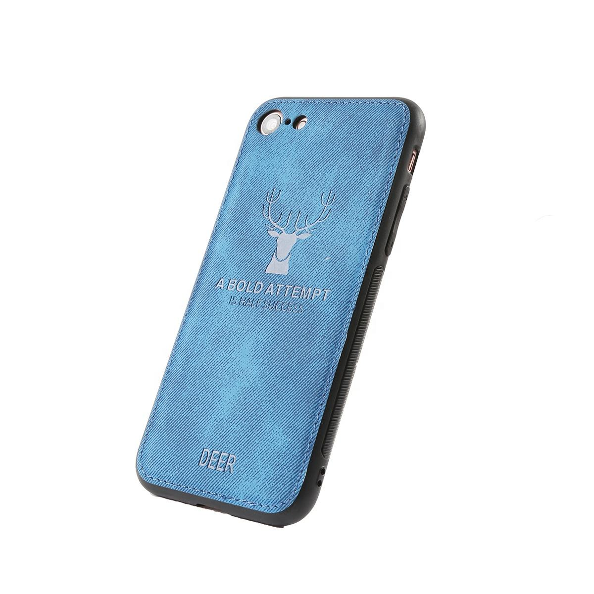 Soft TPU Edge Canvas Embossed Deer Phone Case For Vivo iQOO Cloth Texture Protective Film Cover
