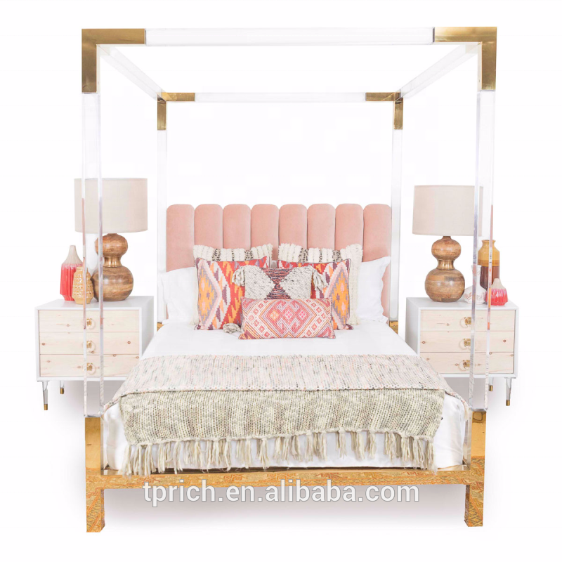 Factory Wholesale Customized Modern Acrylic Queen Bed Frame With Metal