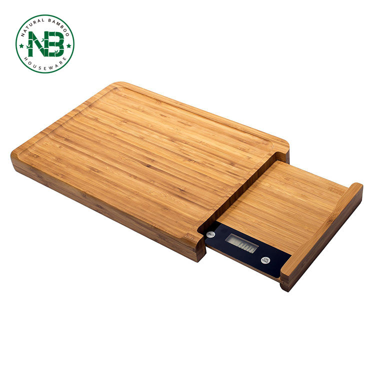 Bamboo Cutting board and Chopping Block with Digital Scale
