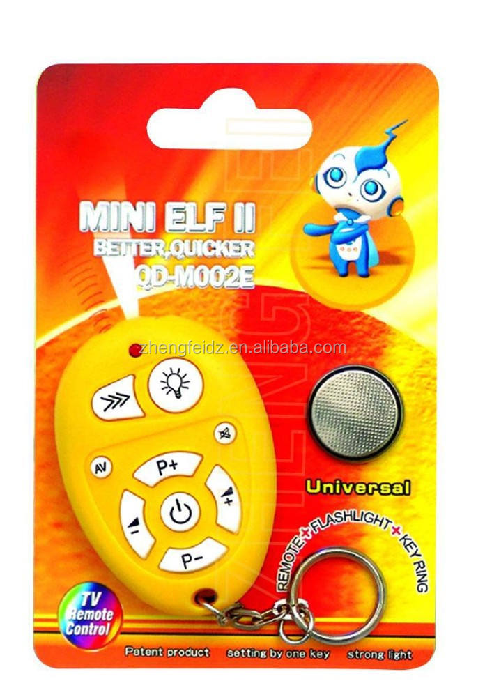 9 keys universal tv remote control remote/flashlight/key ring