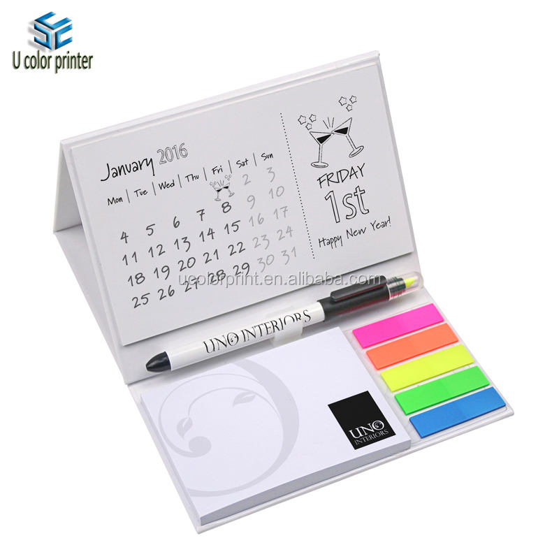 U color make custom desk pad calendar printing with pen attached