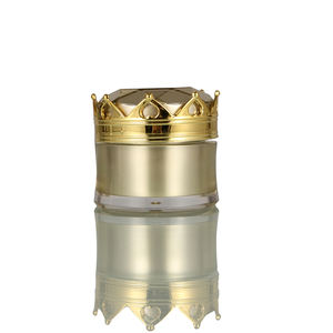 Gold Cosmetic Acrylic PS PP ABS Cream Jar with Crown Cap 15g 20g