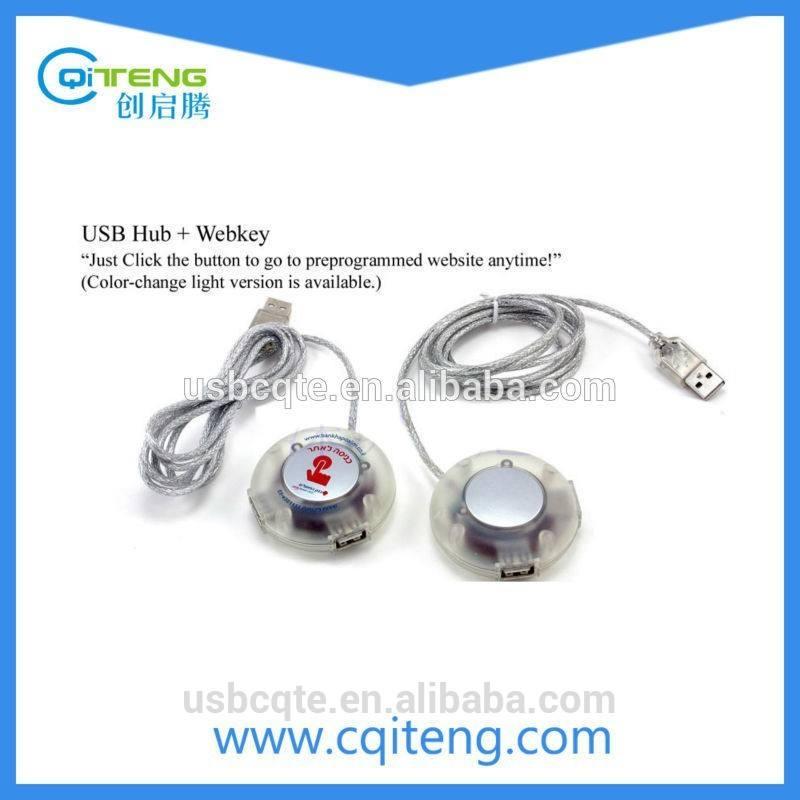 Fábrica Web chave botão USB Hub para a companhia anúncio 3 porto Webkey USB Hub com forma bonito