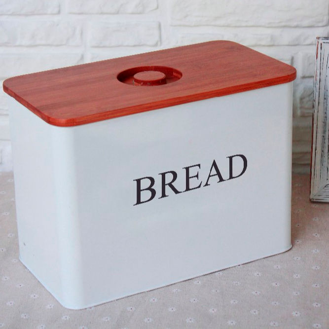 Enamel large Bread Box With bamboo Lid