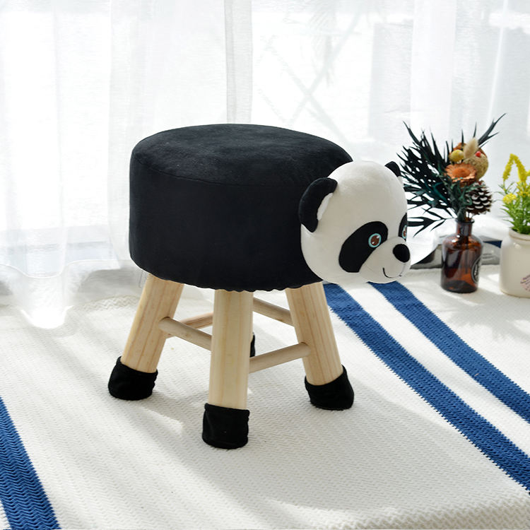 Unfolded Wooden Stool With 4 Legs With Fabric animal shape stool animal ottoman Giant panda ottoman stool