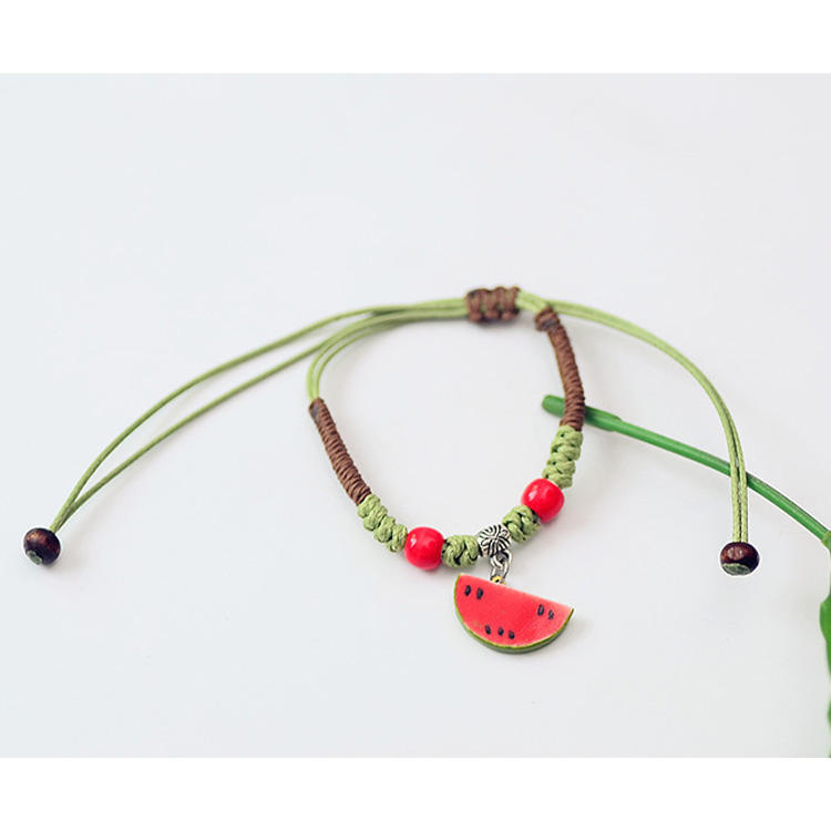 New Arrival Lovely Bracelet Beads Bracelet Cartoon Watermelon Hemp Woven Adjustable Sweet Trendy Ceramic Fruit Bracelet