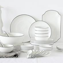 white optional wholesale European style porcelain ceramic dinner dish set tableware