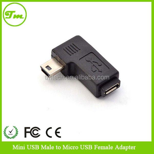 premium Mini USB Male Down Angle to Mini USB Female adaptor converters