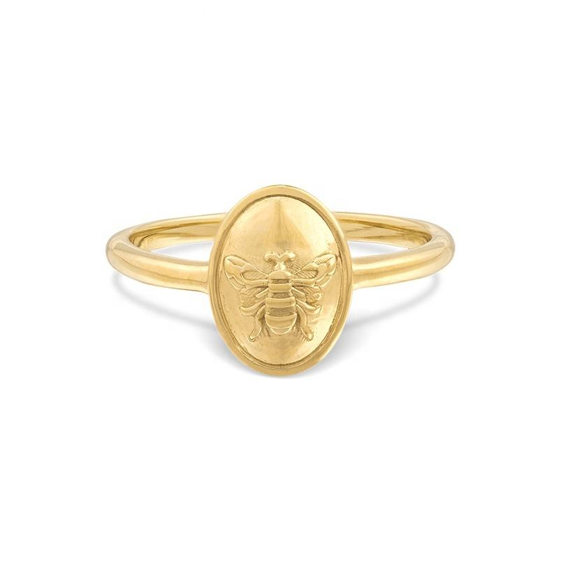 Wholesale 925 silver jewelry 14 karat gold honey bee signet ring for men