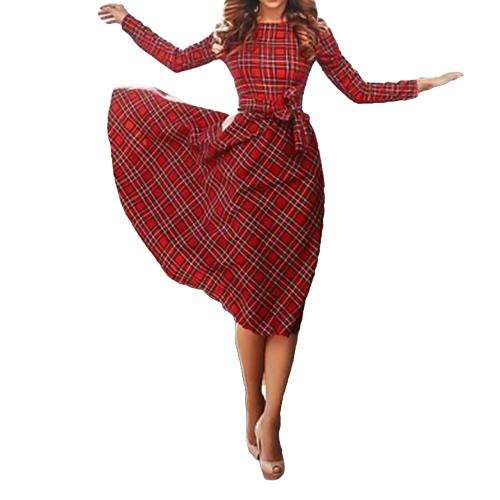 New Vintage Frauen Plaid Kleid Langarm Taille Strap Prüfen Tartan Cocktail Party Schaukel Kleid Rot