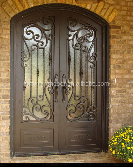 2016 new french decorative iron door made with glass window popular used for hotels villas and shops
