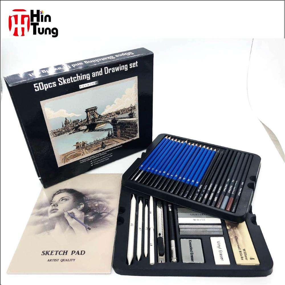 50pcs Sketching and Charcoal Pencil Drawing Set