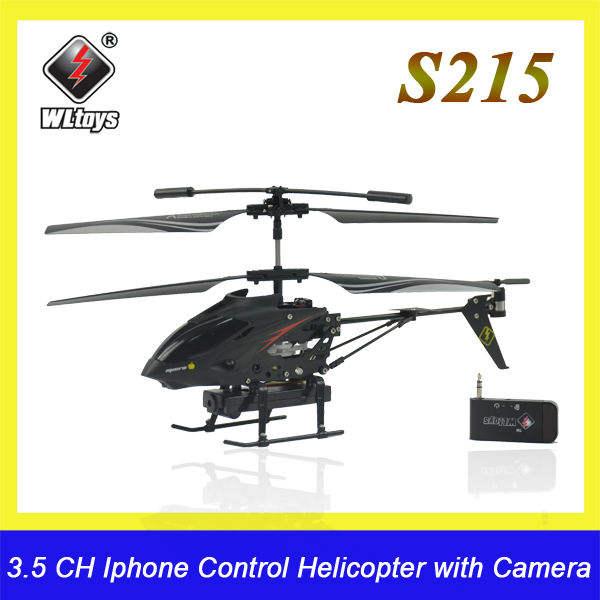 Juguetes wl s215 iphone y android de control 3.5ch rc helicoptero con cámara de vídeo