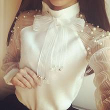 Pearl Long Sleeve High Neck Shirts Design Transparent Hot Sexy Blouse With Bow Knot