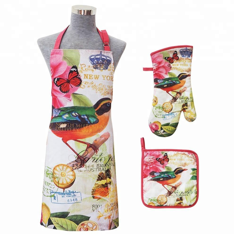 High quality custom printed kitchen set of apron oven mitt pot holder set
