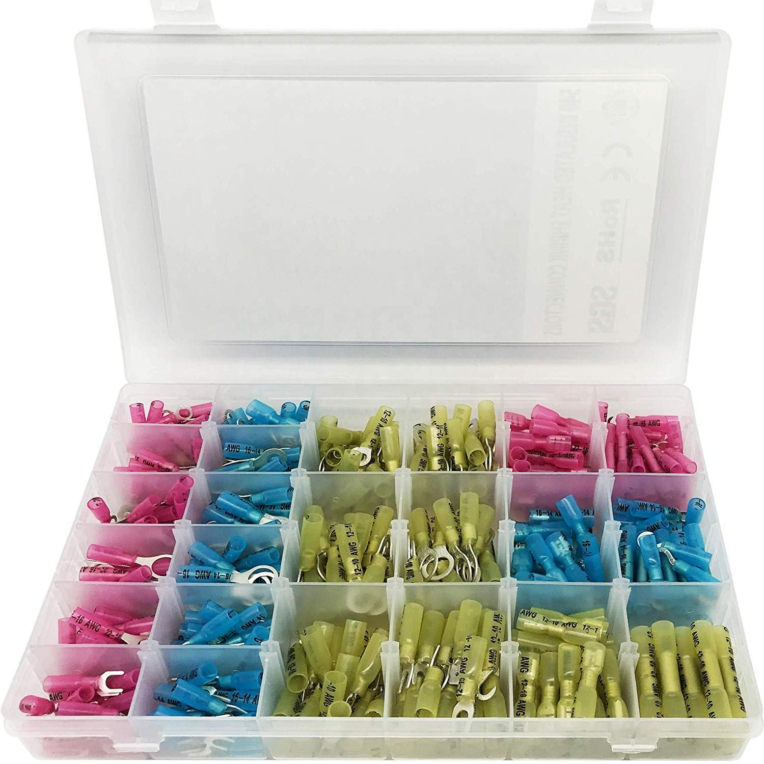270 PCS, Heat Shrink Connectors, Marine Automotive Electrical Insulated, Crimp Wire Terminal