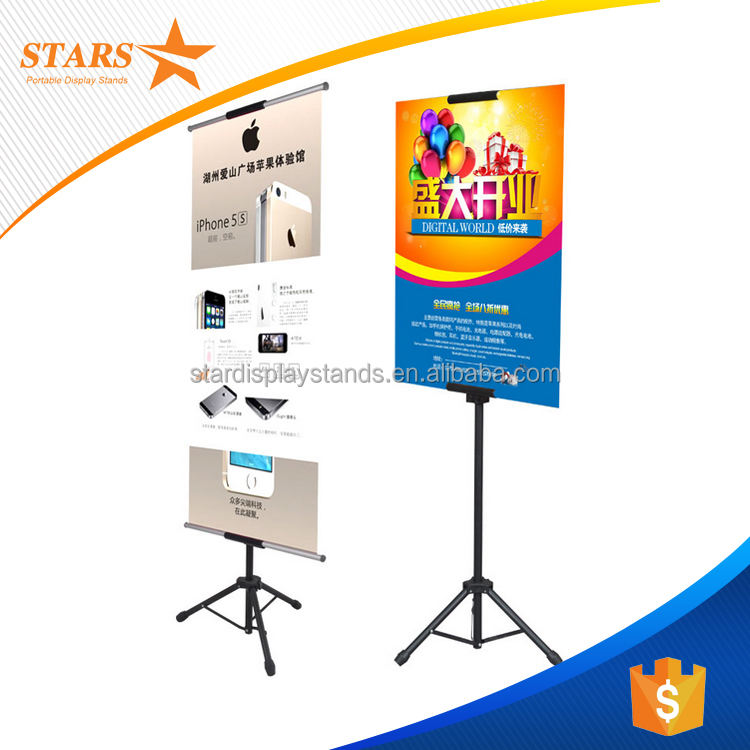 Double Sided Free Standing Double Sided Metal Tripod Poster Stand Display 2018