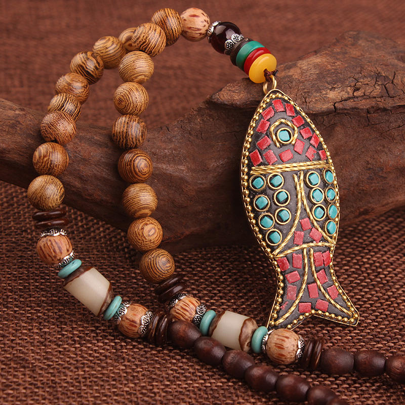 fashion evade SEA fish RESIN INSERT ethnic vintage necklace Nepal jewelry
