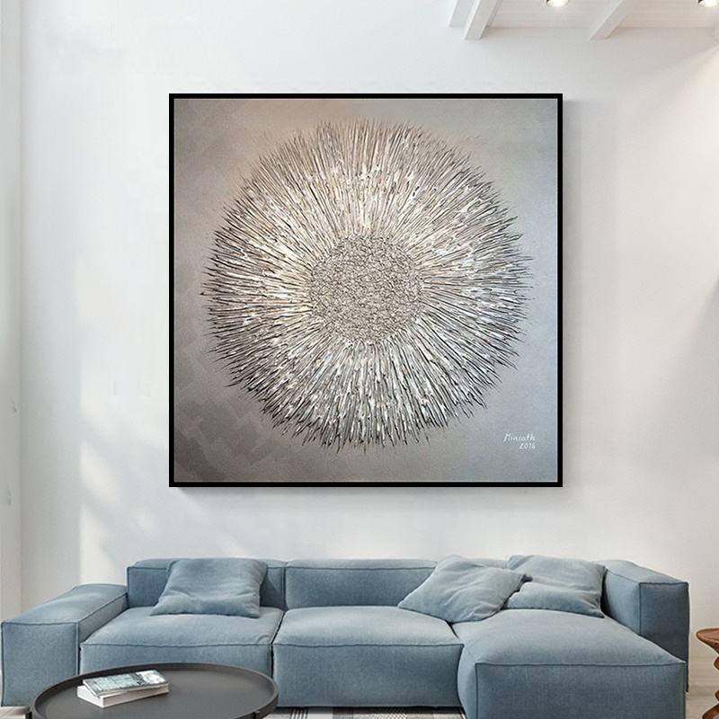 Gold laser canvas paintings hand made wall art pictures modern abstract oil painting for wall decor home decoration