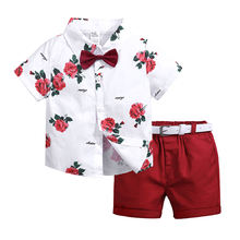 Summer flower shirt shorts set kids clothing baby clothes toddler boys clothing