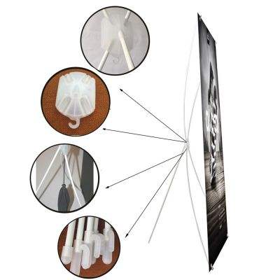 Cheap White Plastic And Glassfiber Material 60*160cm Outdoor/Indoor Advertising X Banner Stands X Trade Show Display