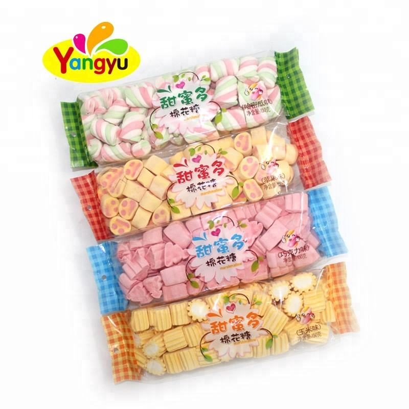 Halal fruit flavor fluffy soft marshmallow candy with different shape