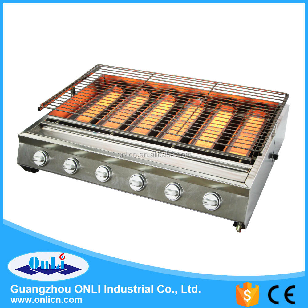 Six Big Burner Stainless Steel Barbecue Gas BBQ Grill