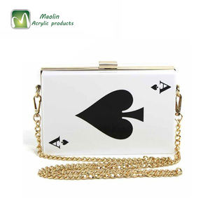 2018 Women's Playing Card-patterned Evening Handbag Acrylic Clutch Purse
