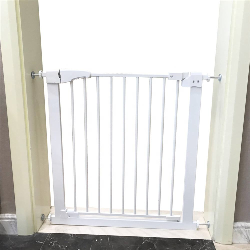 "Fits Spaces between 24"" to 34"" Wide Adjustable Metal Dog Gate Walk Thru Pet Gate"