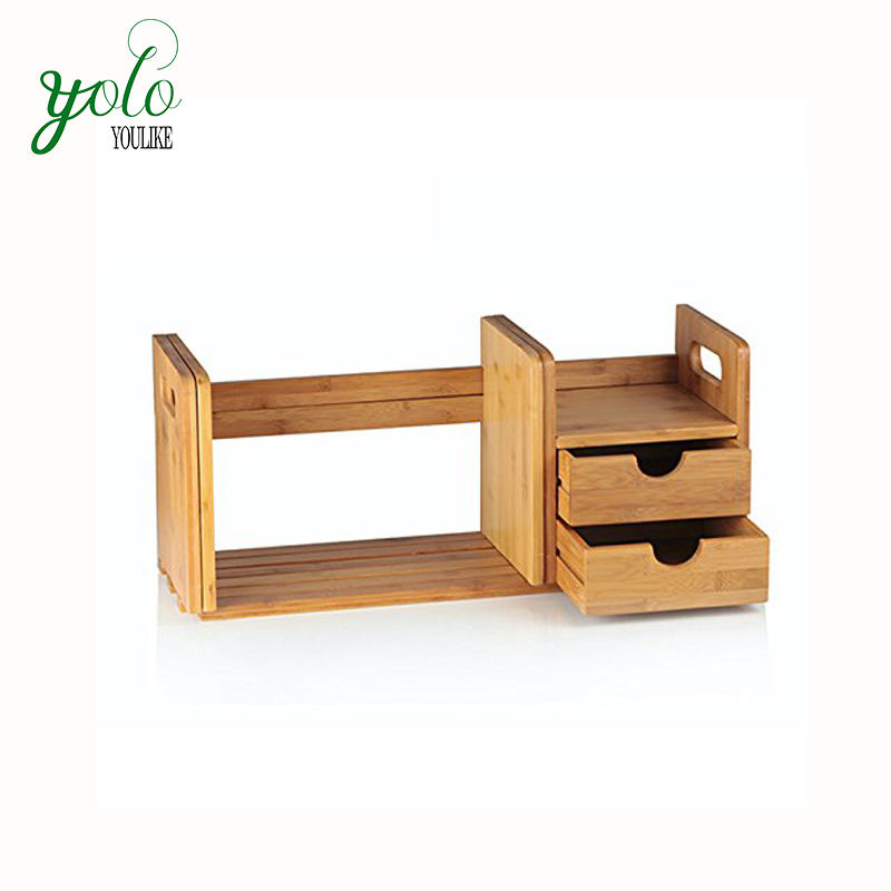 Custom Natural CD Holder Media Rack, Bamboo Desk Organizer with Extendable Storage for Office and Home