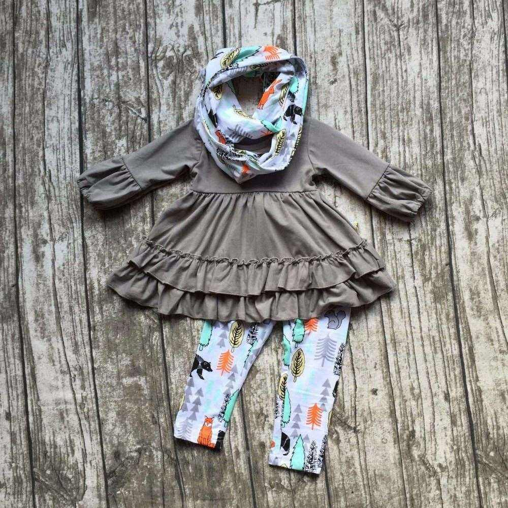 new FALL/Winter 3 pieces scarf set 100% cotton suit baby forest animal girls grey ruffles print pants boutique children clothes