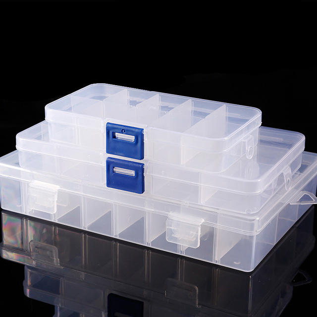 18 Transparent Removeable Dividers Plastic Bins Container for Rolls of Nail Art Foils Storage, Small Parts Organizer