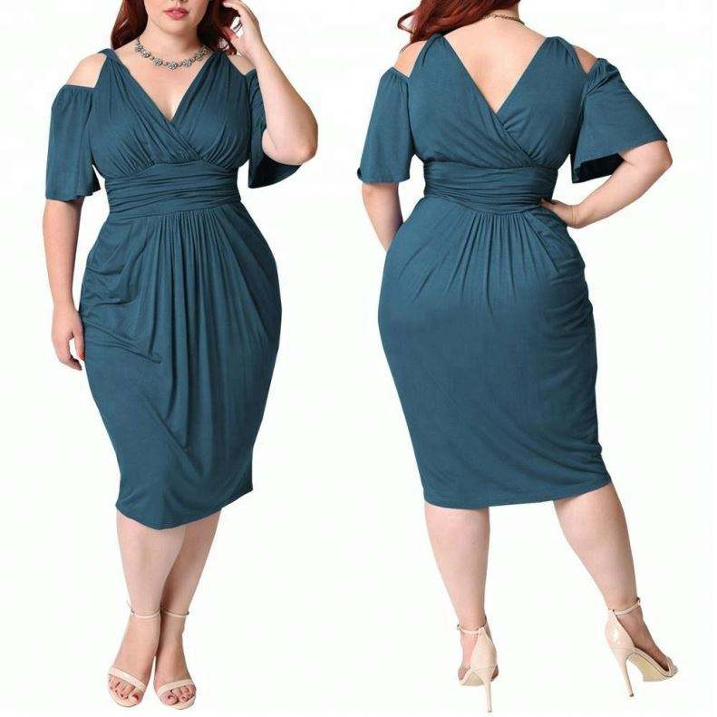 Clod Shoulder V neck Pure Oem Fat Women Dress