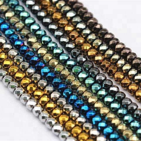 2x3mm ~ 3x8mm Faceted Rondelle Kecil Hematit Gelang Beads Gemstone Longgar Beads