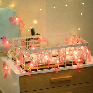 Holiday Flamingo Christmas Copper String Party Night Light Decoration for Living Room