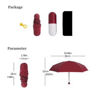 6 Panels Sun Mini 5 fold Black Vinyl Coated anti-uv umberella capsule umbrella with case