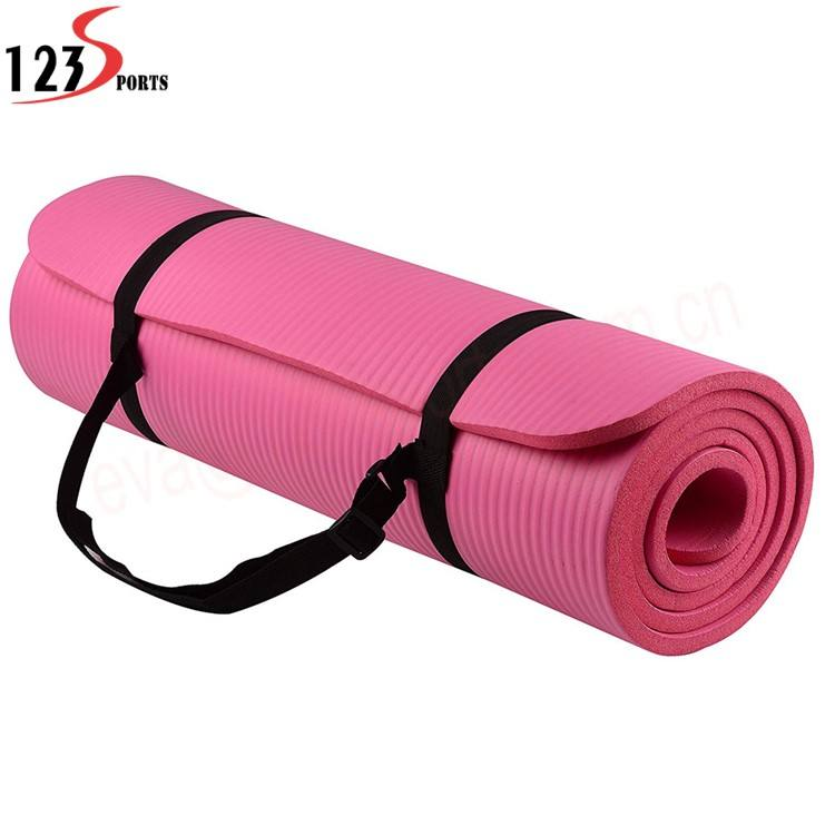 8~20mm Extra Thick High Density Anti-Tear Exercise balance NBR Yoga Mat with Carrying Strap