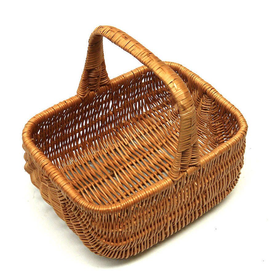 large handcrafted Traditional shopping Wicker Carry Basket