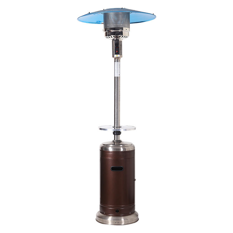 Standing gas patio heater in brown hammered
