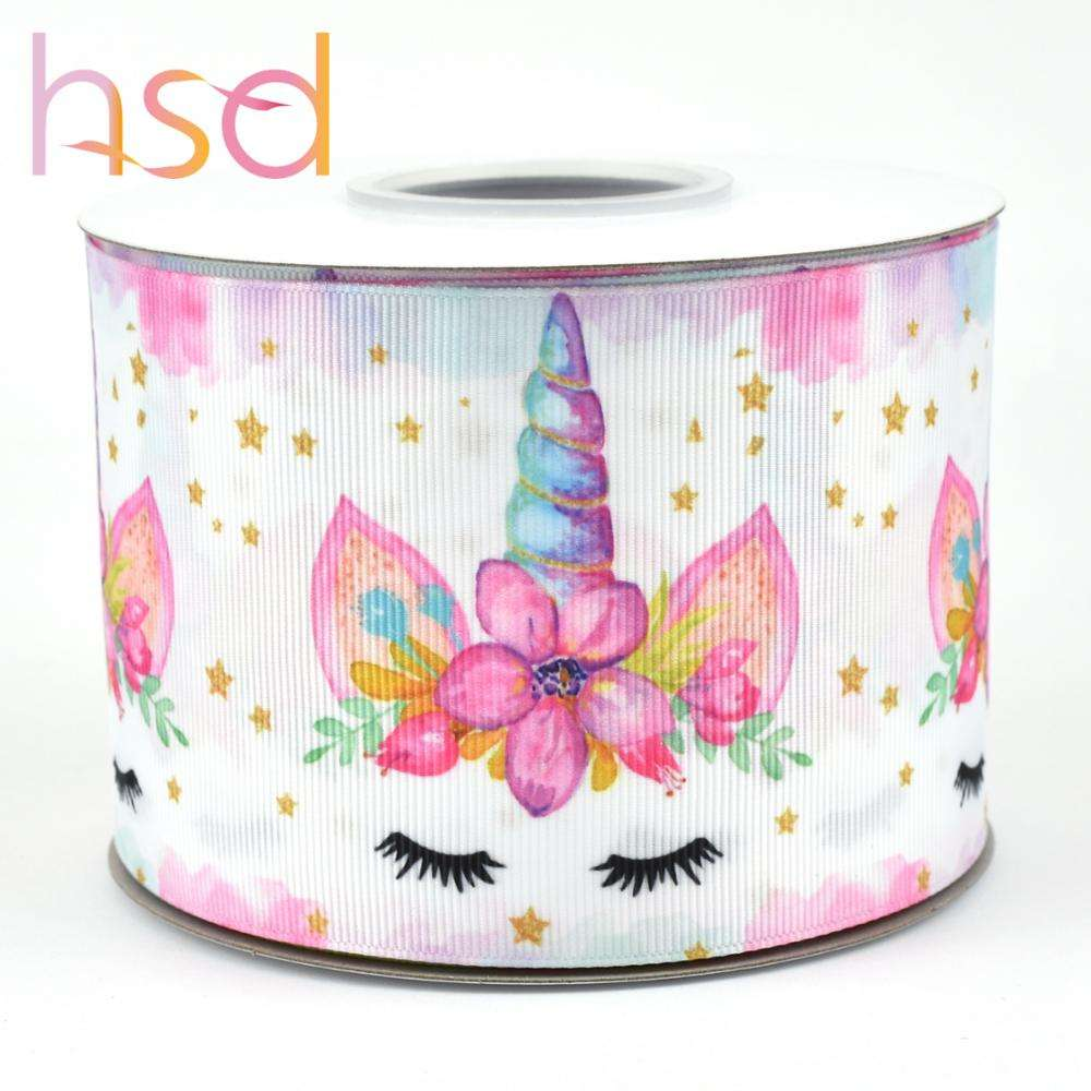 HSD ribbon unicorn pattern heat transfer printed grosgrain ribbon