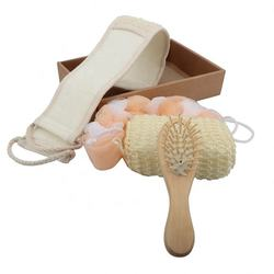 Hot Sale Bathroom Accessory Sets ,Wooden Bath Shower Gift Set Include Scrubber Massage Comb For Women